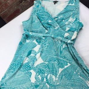 Talbots aqua sleeveless belted dress